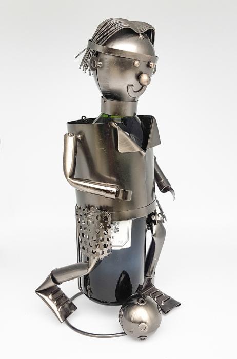 Suport din Metal pentru Sticla de Vin, model Fotbalist, Capacitate 1 Sticla, Negru/Argintiu, H 33 cm 0
