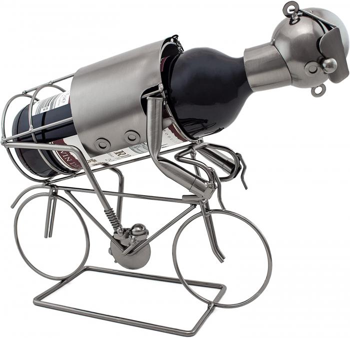 Suport pentru Sticla Vin, model Biciclist, Metal Lucios, Capacitate 1 Sticla, H 24.5 cm 0