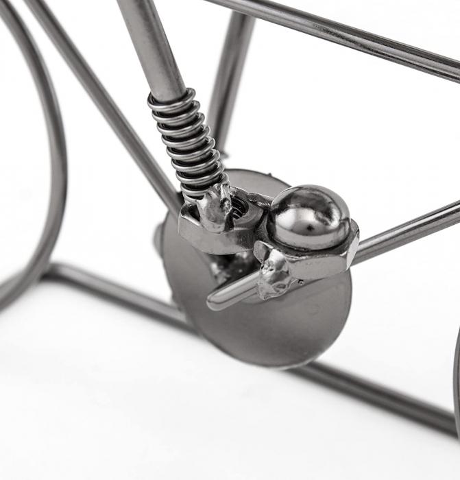 Suport pentru Sticla Vin, model Biciclist, Metal Lucios, Capacitate 1 Sticla, H 24.5 cm 1