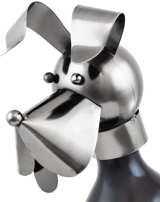 Suport pentru Sticla Vin, model Catel, metal lucios, culoare Negru/Argintiu, capacitate 1 Sticla, H 36 cm 1