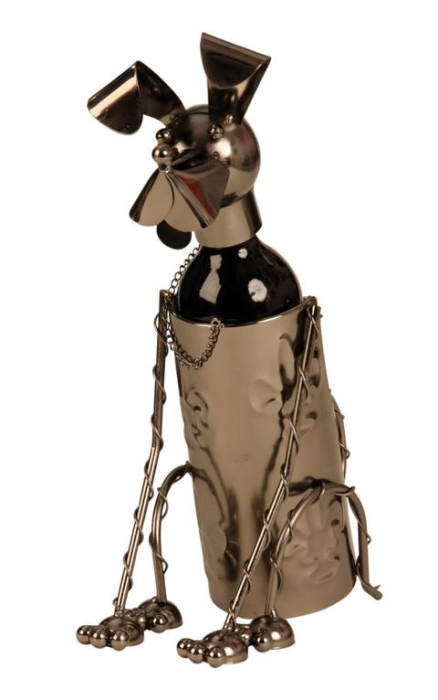 Suport pentru Sticla Vin, model Catel, metal lucios, culoare Negru/Argintiu, capacitate 1 Sticla, H 36 cm 2
