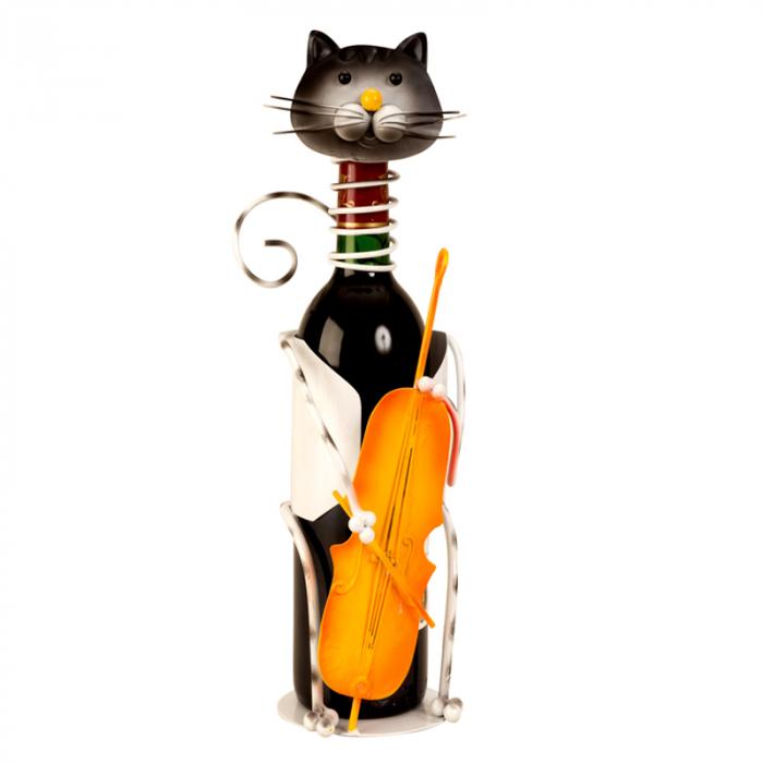 Suport pentru Sticla Vin, model Pisica, Metal Lucios, Capacitate 1 Sticla, H 36.5 cm [4]