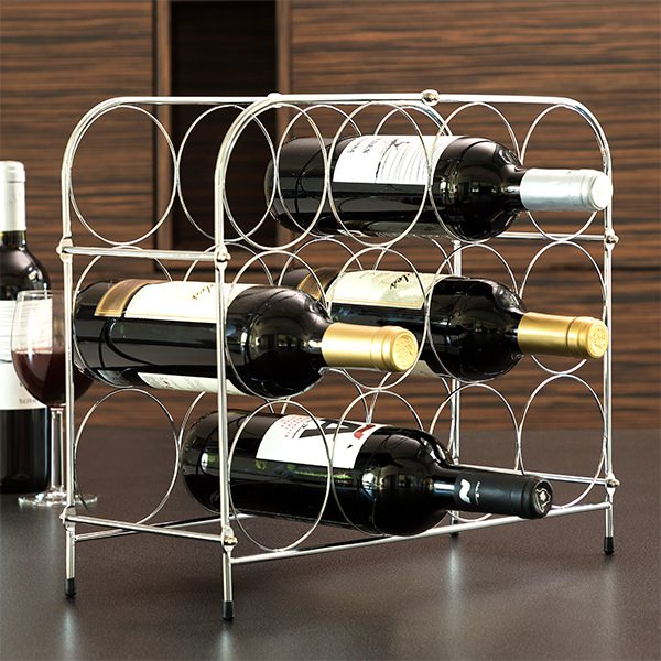 Suport pentru Sticle de Vin, din metal lucios, capacitate 12 Sticle Vin, 41.5x33.5x16 cm, G 0.9kg 1