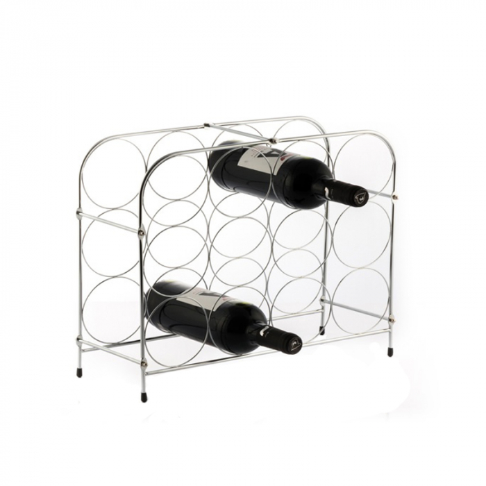 Suport pentru Sticle de Vin, din metal lucios, capacitate 12 Sticle Vin, 41.5x33.5x16 cm, G 0.9kg 2