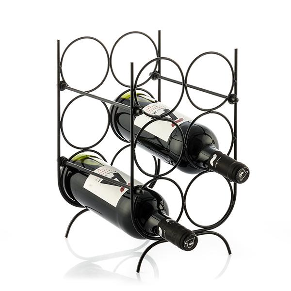 Suport pentru Sticle de Vin, metal Negru, capacitate 6 Sticle, 18x30x20cm, G 620g 2