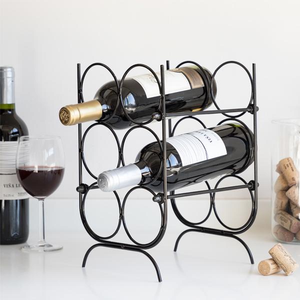 Suport pentru Sticle de Vin, metal Negru, capacitate 6 Sticle, 18x30x20cm, G 620g 3