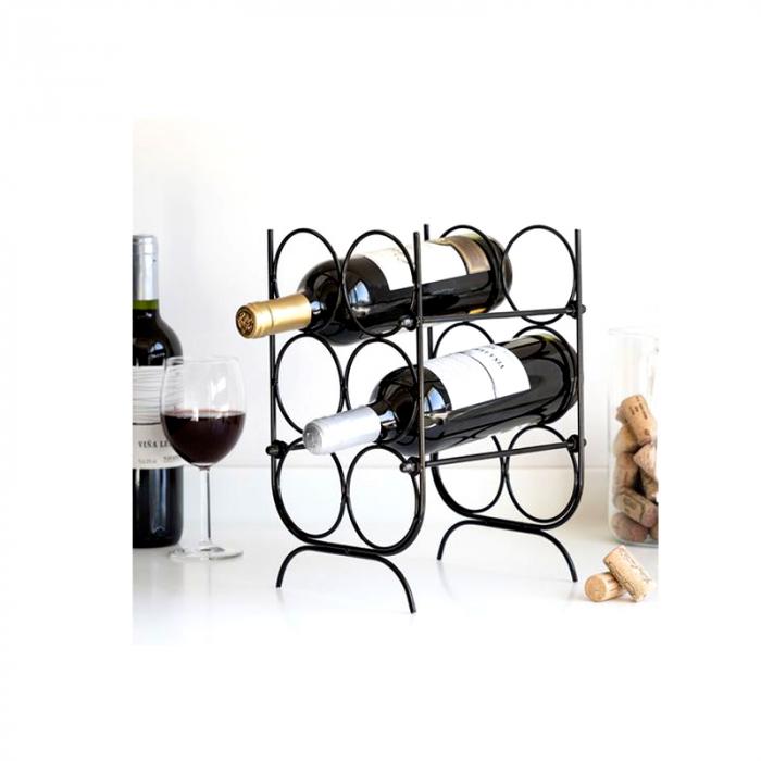 Suport pentru Sticle de Vin, metal Negru, capacitate 6 Sticle, 18x30x20cm, G 620g 5