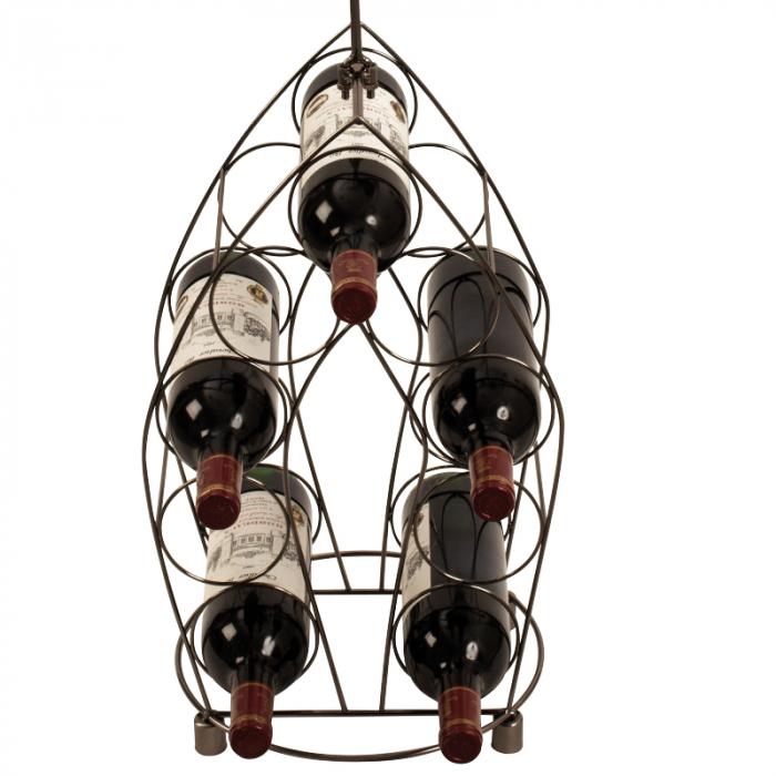 Suport pentru Sticle de Vin, model Ospatar, din metal Argintiu lucios, capacitate 9 Sticle de 0,75 ml, H 99 cm 2