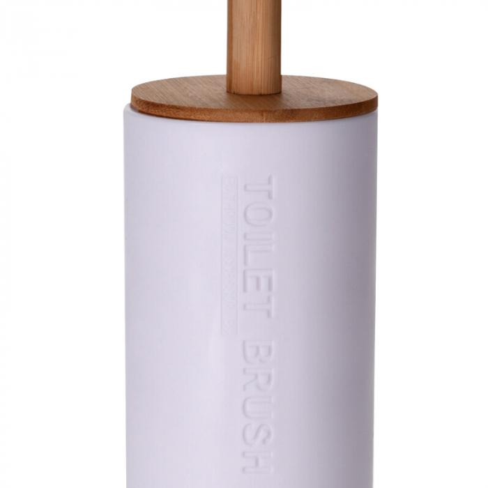 Perie WC cu Suport din plastic Alb, cu maner si capac din bambus Maro, 9 cm x H21.5 cm [6]