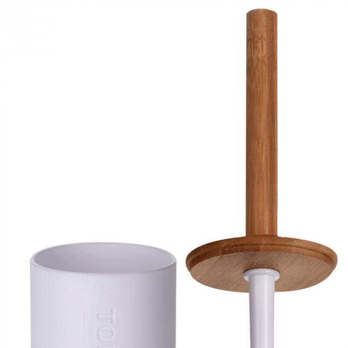 Perie WC cu Suport din plastic Alb, cu maner si capac din bambus Maro, 9 cm x H21.5 cm [2]