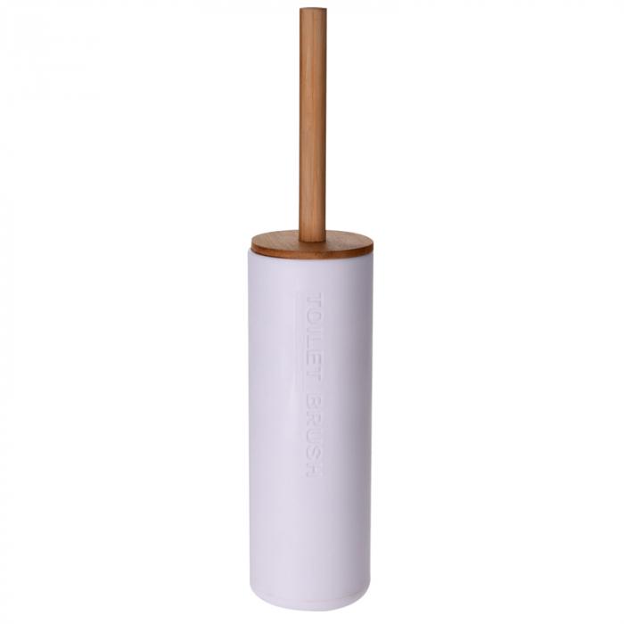 Perie WC cu Suport din plastic Alb, cu maner si capac din bambus Maro, 9 cm x H21.5 cm [1]