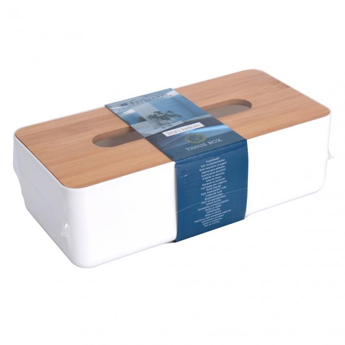 Suport plastic pentru servetele cu capac bambus 26x13x8 cm [1]