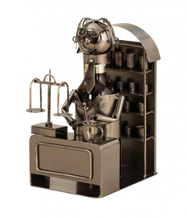 Suport din Metal pentru Sticla de Bere, model Farmacist, H 25 cm, L 14 cm 2