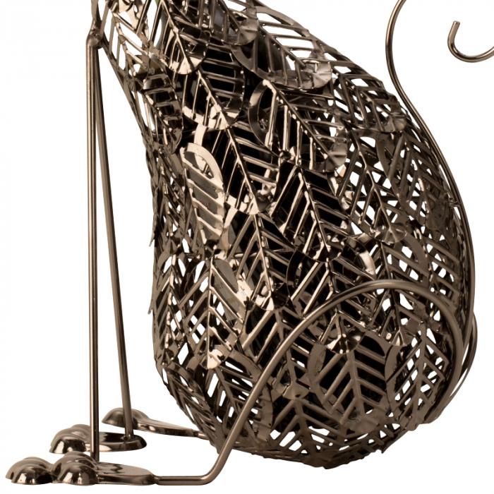 Suport Sticla de Vin, din Metal, model Pisica, 41 cm 4