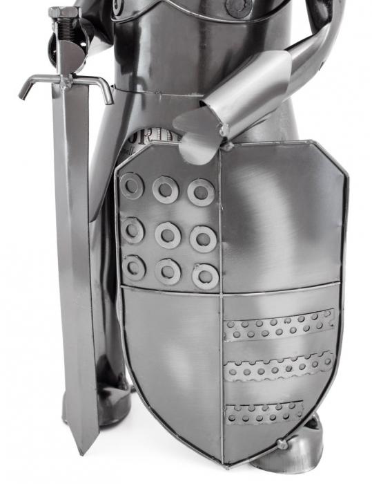 Suport sticla vin din metal, cavaler cu palos si sabie  h 39 cm [2]