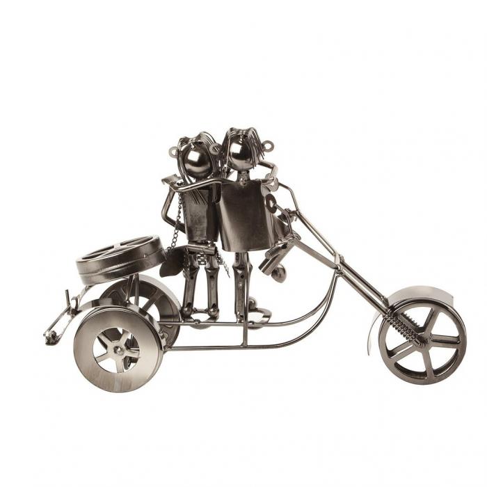 Suport sticla Vin din metal, model Cuplu pe Motor, Argintiu, 20cm x 37cm 3