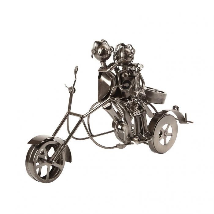 Suport sticla Vin din metal, model Cuplu pe Motor, Argintiu, 20cm x 37cm 4