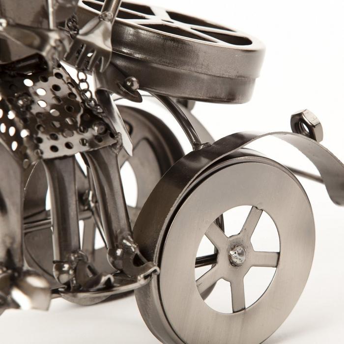 Suport sticla Vin din metal, model Cuplu pe Motor, Argintiu, 20cm x 37cm 6