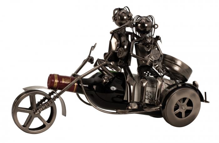 Suport sticla Vin din metal, model Cuplu pe Motor, Argintiu, 20cm x 37cm 1