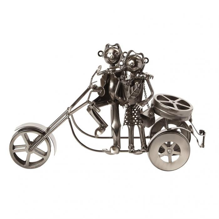 Suport sticla Vin din metal, model Cuplu pe Motor, Argintiu, 20cm x 37cm 2