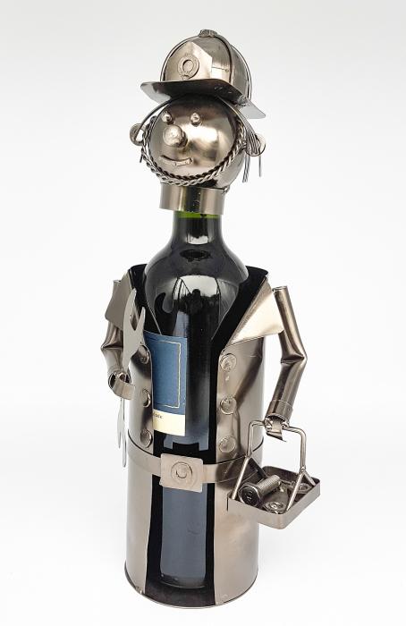 Suport din Metal lucios pentru Sticla de Vin, tip Instalator, Argintiu/Negru, capacitate 1 Sticla, H 34 cm 4