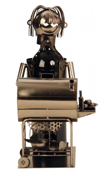 Suport din Metal pentru Sticla de Vin, model Grataragiu, Argintiu/Negru, capacitate 1 Sticla, H 34 cm 1
