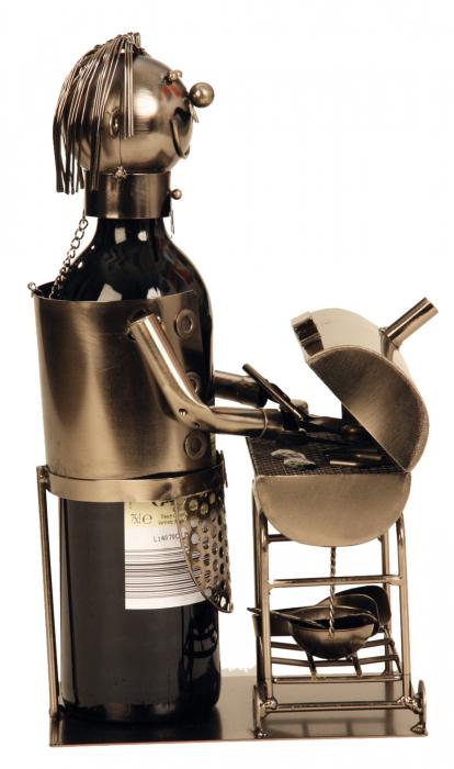 Suport din Metal pentru Sticla de Vin, model Grataragiu, Argintiu/Negru, capacitate 1 Sticla, H 34 cm 2