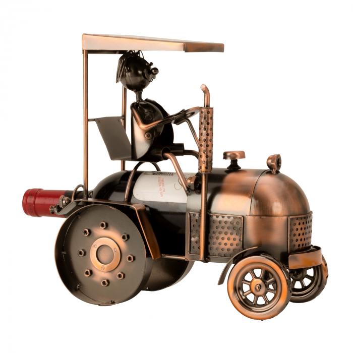 Suport din Metal pentru Sticla de Vin, model Tractor, H 27 cm 0
