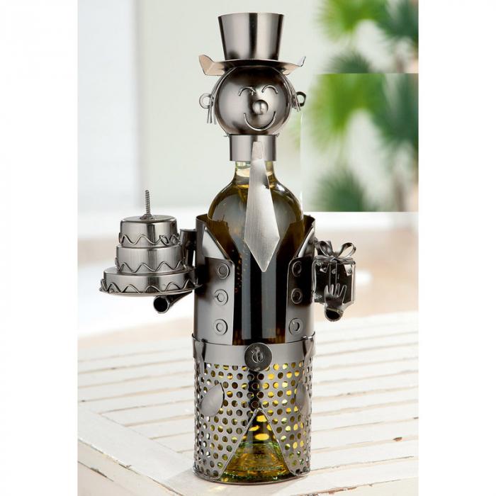 Suport Sticle de Vin, Model Baiat cu Tort, Metal Cromat, Capacitate 1 Sticla, 36 cm. [0]
