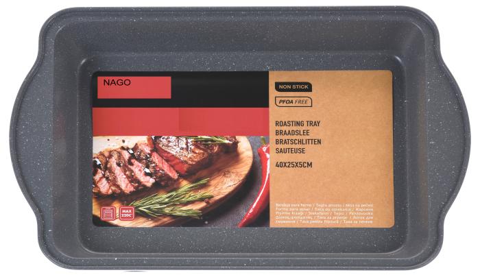 Tava de copt pentru cuptor, NAGO, Tava de gatit termorezistenta, forma rectangulara, strat antiaderent, cu manere, 40 x 25 x 5 cm, 365 g, Gri carbune 0