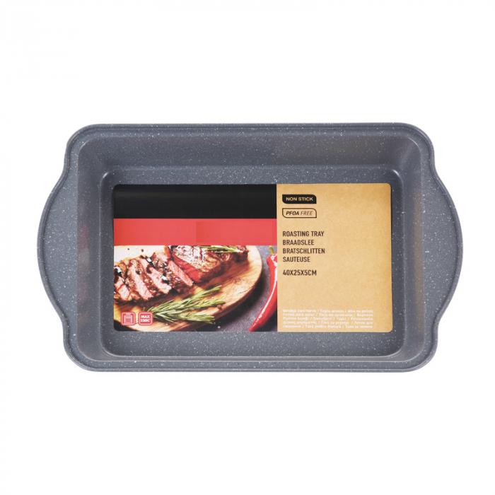 Tava de copt pentru cuptor, NAGO, Tava de gatit termorezistenta, forma rectangulara, strat antiaderent, cu manere, 40 x 25 x 5 cm, 365 g, Gri carbune 1