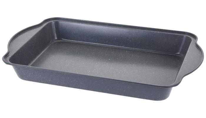 Tava de copt pentru cuptor, NAGO, Tava de gatit termorezistenta, forma rectangulara, strat antiaderent, cu manere, 40 x 25 x 5 cm, 365 g, Gri carbune 5