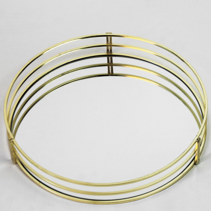 Tava decorativa, din Metal cu Oglinda, Aurie, 30 cm [7]