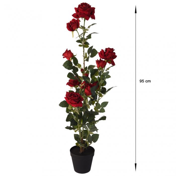 Trandafir artificial Rosu in ghiveci, inaltime 95 cm [1]