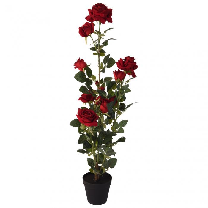 Trandafir artificial Rosu in ghiveci, inaltime 95 cm [0]