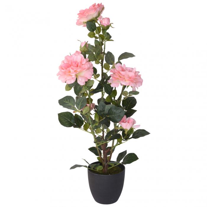 Trandafir artificial, Roz, in ghiveci, inaltime 70 cm [0]