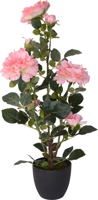 Trandafir artificial, Roz, in ghiveci, inaltime 70 cm [2]