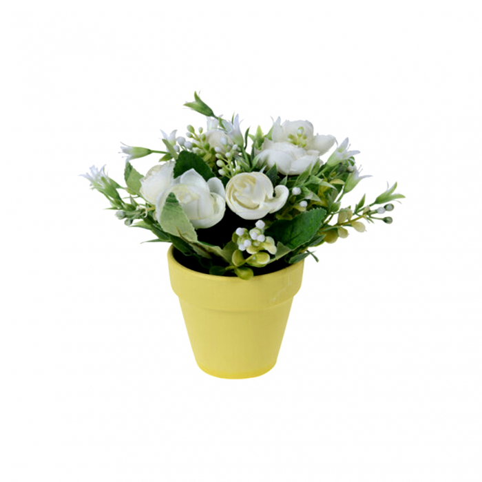 Trandafiri artificiali albi in ghiveci 21 cm [0]