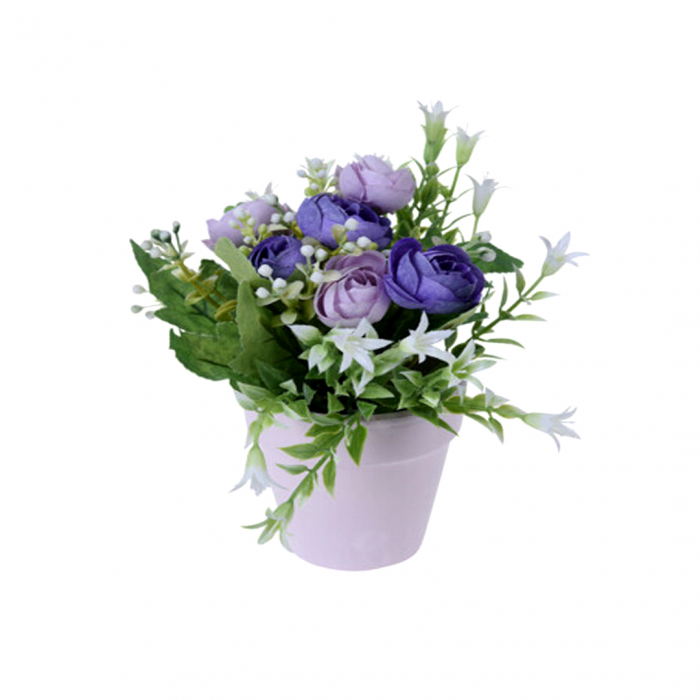 Trandafiri artificiali bleu in ghiveci 21 cm [0]