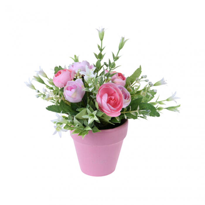Trandafiri artificiali roz in ghiveci 21 cm [0]