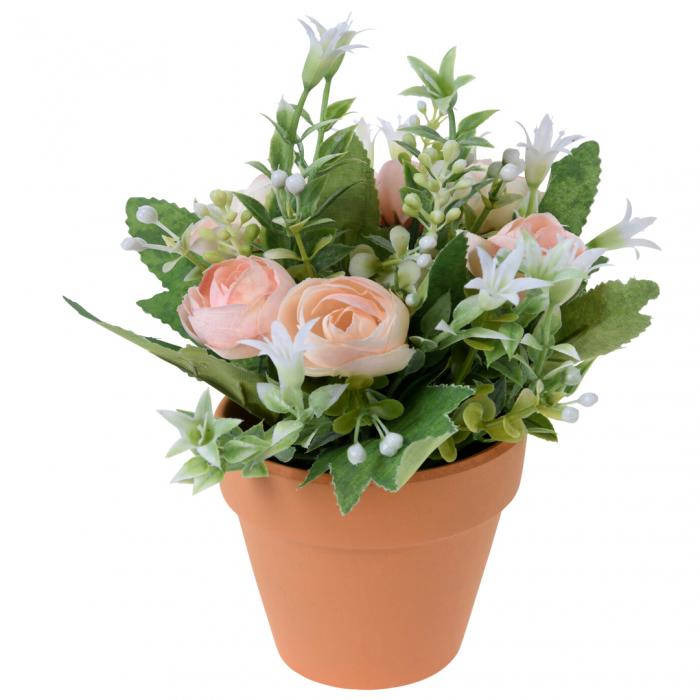 Trandafiri artificiali roz pal in ghiveci 21 cm [0]