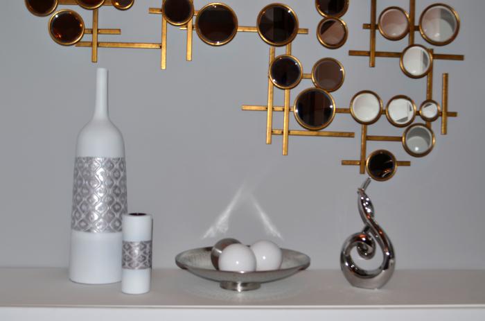 Vaza alb/argintiu, din polirezina, 59 cm x 16.5 cm 5