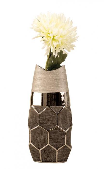 Vaza argintie 28 cm cu model fagure [5]