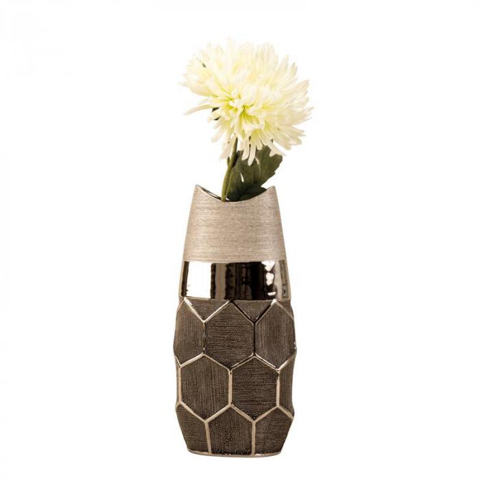 Vaza argintie 28 cm cu model fagure [3]