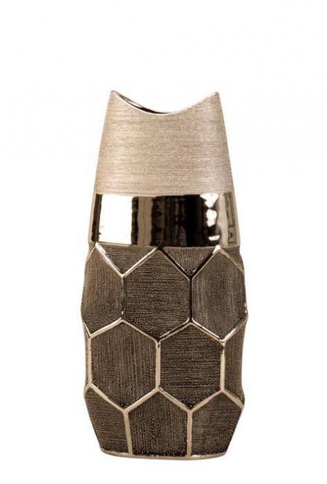 Vaza argintie 28 cm cu model fagure [2]