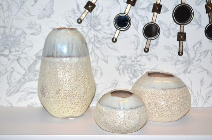Vaza ceramica 10 cm culoarea fildes 1