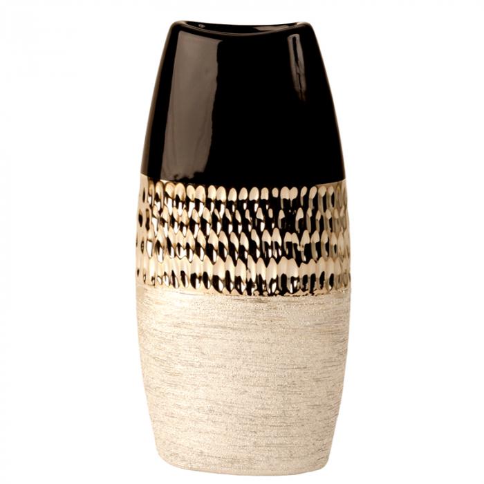 Vaza Ceramica, Antracit cu Argintiu, 29x15 cm 1