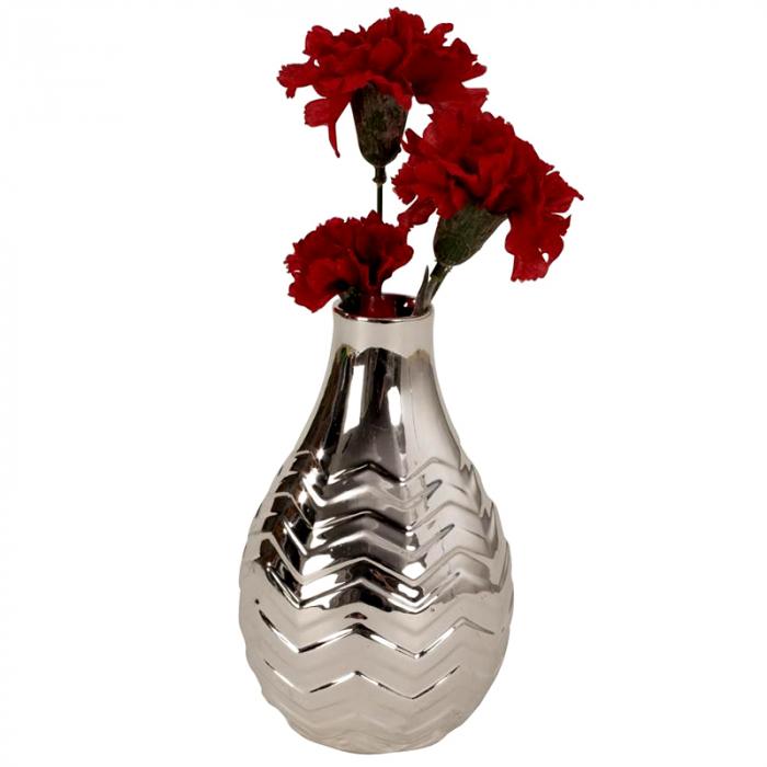 Vaza ceramica argintie 16 cm [3]