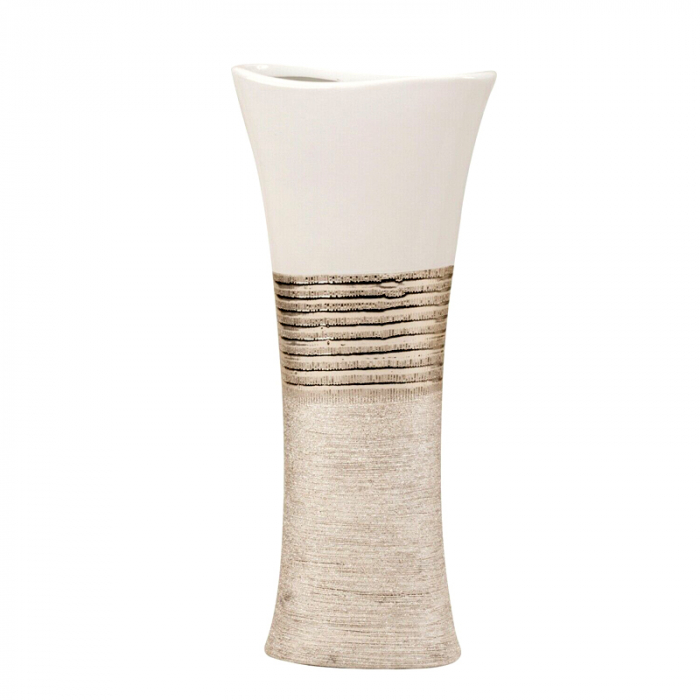 Vaza Ceramica, eleganta si moderna, Ovala, Argintiu cu Alb, 43 cm 0
