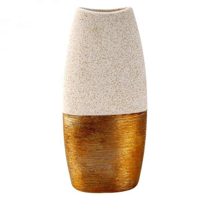 Vaza Ceramica, Auriu cu Crem, 29x15 cm [1]